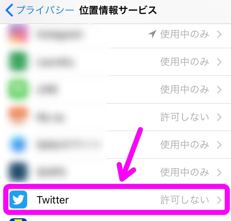 ツイッター 位置情報